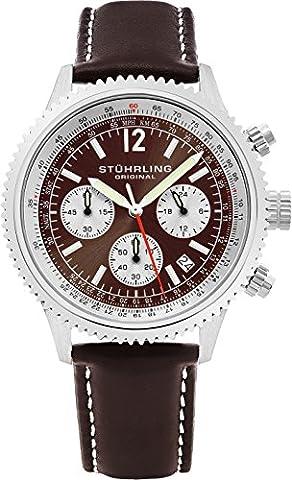 Stuhrling Original Men's 669.03 Monaco Analog Japanese Quartz Brown Genuine Leather Watch (Brown Leather Geneva Watch)