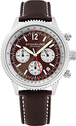 - Stuhrling Original Men's 669.03 Monaco Analog Japanese Quartz Brown Genuine Leather Watch