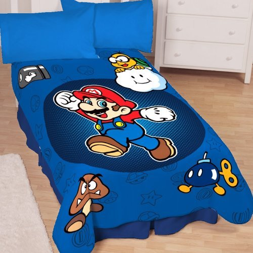Super Mario Who's With Me Microraschel Blanket, 62-Inches by 90-Inches