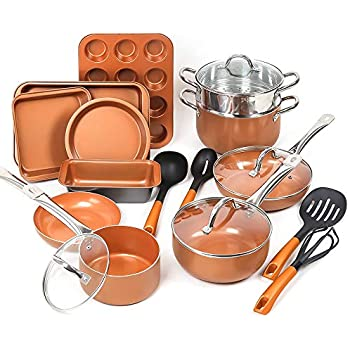 SHINEURI 19 Piece Copper Nonstick Cookware Set - 10 Pieces Kitchen Pots and Frying Pan Set, 5 Pieces Bakeware Set & 4 Pieces Cooking Utensil - Dishwasher & Oven Safe, PFOA/PTFE Free (Copper)