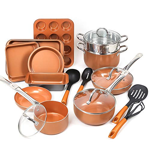 SHINEURI 19 Piece Copper Nonstick Cookware Set – 10 Pieces Kitchen Pots and Frying Pan Set, 5 Pieces Bakeware Set & 4 Pieces Cooking Utensil – Dishwasher & Oven Safe, PFOA/PTFE Free (Copper)
