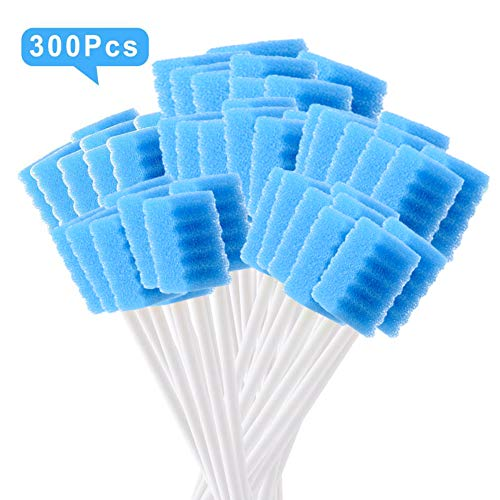 [Pack of 300] Blue Oral Swab/Unflavored and Untreated Swabs/Disposable Sterile Mouth Swabs/Individually Wrapped Oral Swabs for Dental and Hygienic Purpose/Oral Care Swabs by JJ CARE