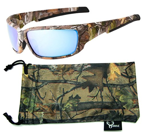 Hornz Brown Forest Camouflage Polarized Sunglasses for Men Full Frame Strong Arms & Free Matching Microfiber Pouch - Brown Camo Frame - Blue Lens