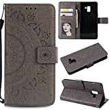 Galaxy A8 Plus 2018 Floral Wallet Case,Galaxy A8 Plus 2018 Strap Flip Case,Leecase Embossed Totem Flower Design Pu Leather Bookstyle Stand Flip Case for Samsung Galaxy A8 Plus 2018-Grey