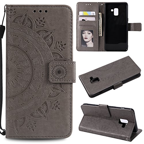 Galaxy A8 Plus 2018 Floral Wallet Case,Galaxy A8 Plus 2018 Strap Flip Case,Leecase Embossed Totem Flower Design Pu Leather Bookstyle Stand Flip Case for Samsung Galaxy A8 Plus 2018-Grey by Leecase