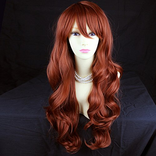 Wonderful Long Layered Wavy Fox Red Ladies Wig from -