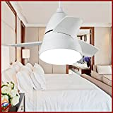 OCT® Original Design Indoor Led Pendant Lights Lustre Brushed Chrome Wireless Remote Control Modern Chandelier White/Silver 26 Inch Nordic ikea High Quaity Metal Ceiling Fan Lamps Ceiling Fan Motor Lights For Kids Fan Lighting Bedroom/Home/Living Room/Hotel/Restaurant/Bar/Coffee/Office Application (White)