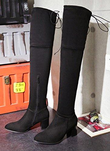 Aisun Womens Coole Comfort Puntige Zijrits Back Lace Up Jurkblok Medium Hak Overknee Hoge Laarsschoenen Zwart