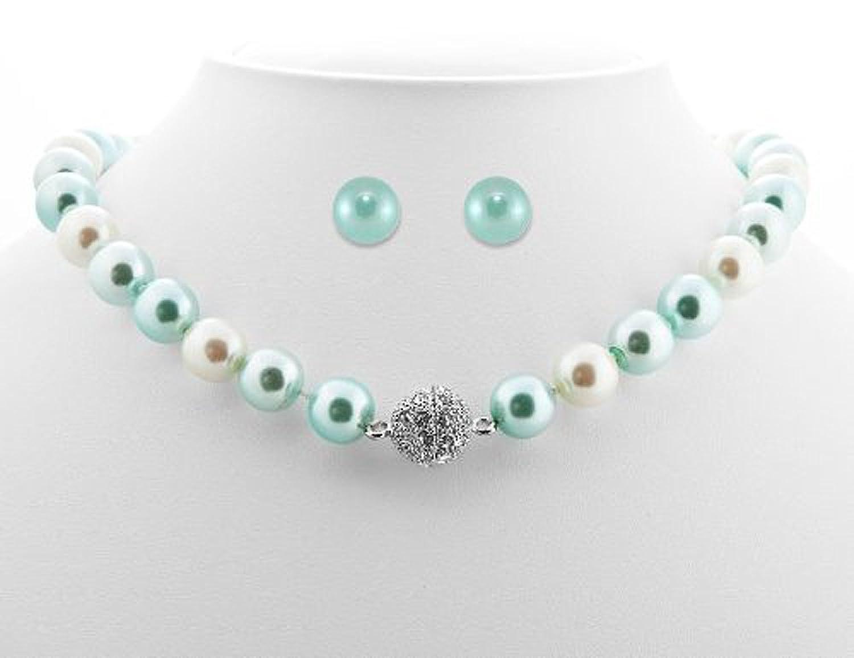 Amazoncom Formal Aqua Blue Color Faux Pearl Necklace Stud