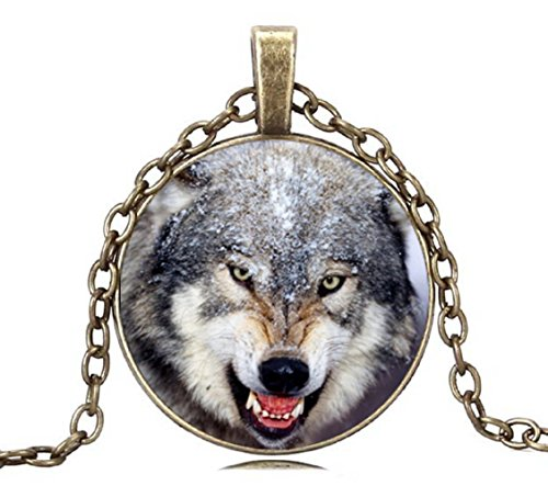 Brand New Wolf Head Necklace Glass Dome Wolf Choker Necklace Picture Art Wolf necklace Boys (Golden) -