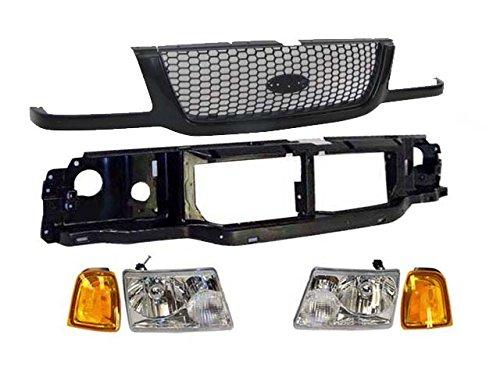 Bundle 01-03 Ranger Park Headlight Header Mount Panel Grille Blk W/Arg Mesh 6Pc