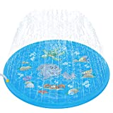 Tobeape Upgraded 68'' Sprinkle and Splash Play Mat, Inflatable Outdoor Sprinkler Pad Water Toys for Children Infants Toddlers Boys Girls and Kids