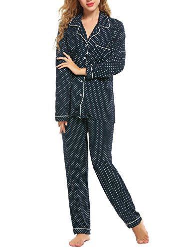 Ekouaer Women's Long Sleeve Satin Pajama Set with Longs, Dark Blue With Green Dots, - Pin Jersey Dot