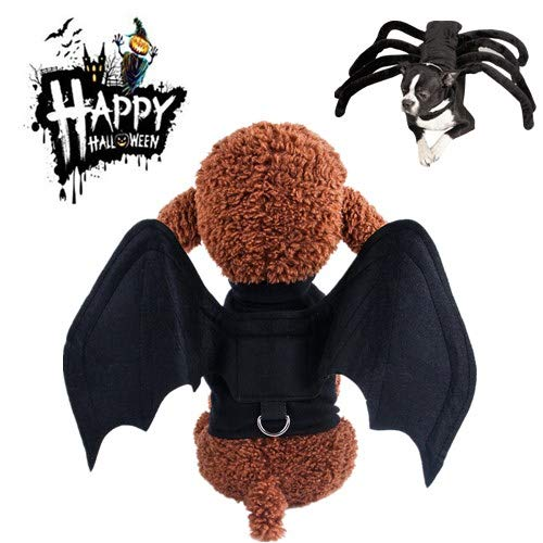 Halloween Pet Bat Costume Wings Cat Dog Spider Costume,Cute Kitten Puppy Cape Clothes Suitable,Funny Spider cat dog vestfor Cospaly Halloween Christmas Party (S,