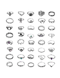 Fiasaso Knuckle Rings Set for Women Girls Bohemian Stackable Midi Finger Ring Pack Retro Vintage Jewelry 40 Pcs