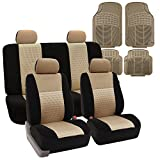 FH GROUP FH-FB060114 + F11305 Combo Set: Beige Full Set Airbag and Split Seat Covers and Beige Rubber Floor Mats- Fit Most Car, Truck, Suv, or Van
