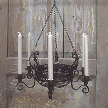 Amazon.de: Kronleuchter mit Korb Landhausstil für Kerzen