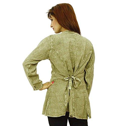 Manga Larga Top Rayon Verano Mujer Beach Wear Tunic Sundress Verde oliva