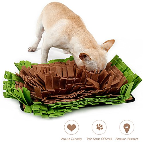 AISITIN Dog Snuffle Mat Feeding Mat,Dog Smell Training Mat Stress Release Nosework Blanket, Durable and Machine Washable Dogs Puzzle Toys, Encourages Natural Foraging Skills by AISITIN