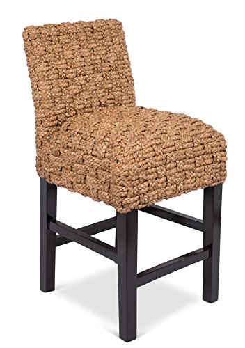 BirdRock Home Checkered Weave Seagrass Counter Stool | Hand-Woven | Dark Brown Mahogany Wood Legs | Kitchen Counter Height | Fully Assembled (Seagrass Counter Stools)