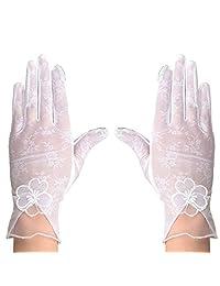 Baiyu Sunscreen Driving Gloves Women Non-slip Summer Gloves Girls Touchscreen Gloves Breathable Elastic Lace Sun Uv Protection One Size Gloves Pink Purple White