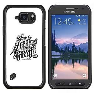 LECELL--Funda protectora / Cubierta / Piel For Samsung Galaxy S6Active Active G890A -- Cebra jirafa Cubierta del libro Blanco Negro --