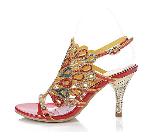 Heel Shoes Mid Prom Dress 43 ZPL Womens Rhinestone 35 Peacock Evening Handmade Patterned Size Bridemaid Party Red Sandals Fq8wt
