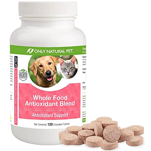 (Only Natural Pet Whole Food Antioxidant Green Tea & Berry Antioxidant Vitamin Supplement Blend for Dogs & Cats to Support A Healthy Immune System, Fight Free Radical Damage - 120 Chewable Tablets)