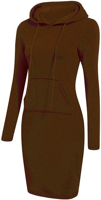 Lemooner damska sukienka z kapturem, z długim rękawem, luźna, w stylu casual, na zimę, sweter, sweter, damska sukienka: Odzież