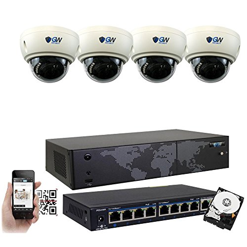 GW 8 Channel 8MP UltraHD 4K (3840x2160) Audio & Video Motorized Zoom Home NVR Security System - 4 x Dome 8 Megapixel 2.8-8mm 3X Optical Zoom Waterproof IP PoE Cameras Built-in Microphone