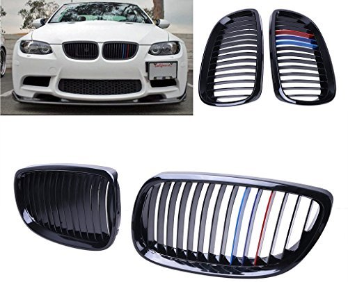 Price comparison product image Kawayee High Gloss Black + M-color Front Grille Grill For BMW 2007-2010 E92 E93 328i 335i 2Door