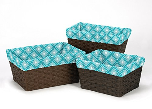Sweet Jojo Designs Set of 3 One Size Fits Most Basket Liners for Mod Elephant Bedding Sets