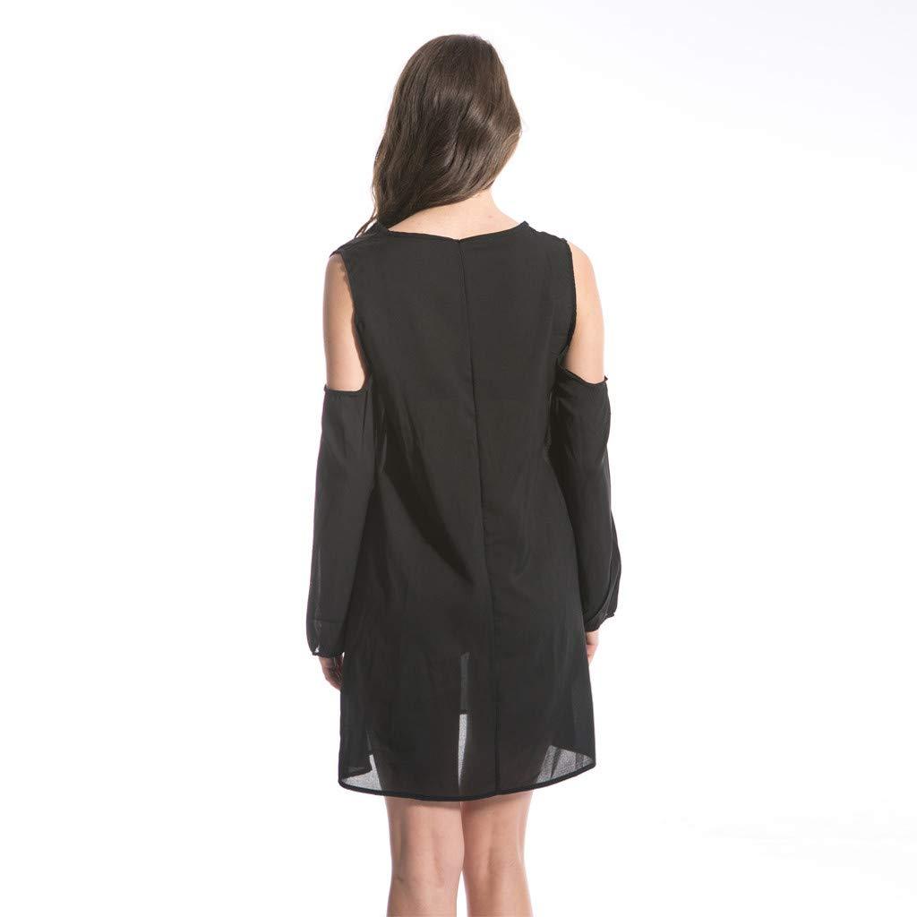 Clothful  Women Dress, Women Fashion Chiffon Solid V-Neck Long-Sleeved Shoulder Hollow 6XL Loose Dress Black by Clothful (Image #2)