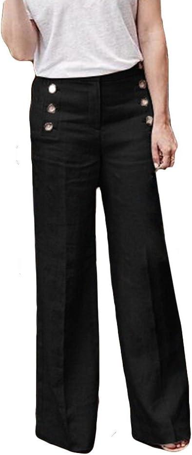 Pantalones Anchos para Mujer Otoño Invierno 2018 Moda PAOLIAN Casual Pantalones Acampanados de Vestir Cintura Alta Fiesta Palazzo Pantalones de Pinza Baggy Negro con cinturón Señora: Amazon.es: Ropa y accesorios
