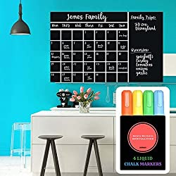 Wall Calendar Chalkboard Decal ~ Guaranteed to stick! ~ 4 Color Markers & Eraser ~ Large 47x 28 ~ Monthly Calendar Whiteboard Planner ~ Keeps Family, School & Work Organized