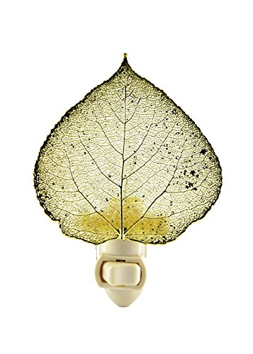 Lights Copper Night Iridescent - The Rose Lady Iridescent Copper or 14kt Gold Dipped Real Aspen Leaf Nightlight -Made in USA (Gold)