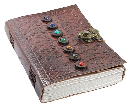 Leather Book of Shadows Journal, Unique Writing Notebook Travel Diary with Chakra Gem Stones and Latch - Plain Unlined Pages, 6 x 9 Inches