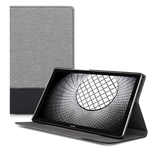 kwmobile Elegant canvas synthetic leather case for Huawei MediaPad M5 8 in grey black with convenient STAND FEATURE by kwmobile