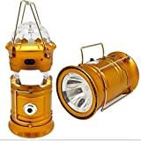 LED Camping Lantern Flashlights Camping with 3 LEDs Party Lights Disco Ball Equipment for Emergency/ Tent Light/ Backpacking/ Hiking/ Fishing/ Bug Out Bag (Gold)