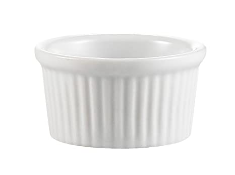 CAC China Accessories 3-1//2-Inch by 1-3//4-Inch 6-Ounce Super White Porcelain Round Fluted Ramekin Box of 36