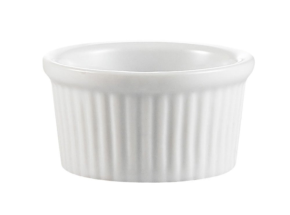 CAC China Accessories 2-5/8-Inch by 1-1/2-Inch 2-Ounce Super White Porcelain Round Fluted Ramekin, Box of 48