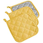 DII, Cotton Terry Pot Holders, Heat Resistant and Machine Washable, Set of 3, Yellow