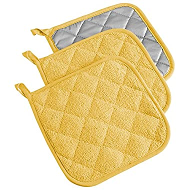DII 100% Cotton, Machine Washable, Heat Resistant, Everyday Kitchen Basic, Terry Potholder, 7 x 7 , Set of 3, Yellow