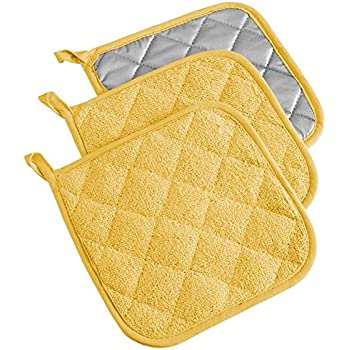 DII 100% Cotton, Terry Pot Holder Set Machine Washable, Heat Resistant, 7 x 7, Yellow, 3 Piece
