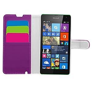 Samrick ejecutivo Especialmente diseñado libro cartera de cuero suave con el titular de la tarjeta de tarjeta de crédito / negocio para el Nokia Lumia 535 púrpura