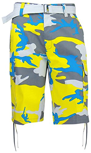 ad56d21a55 Regal Wear Mens Camouflage Cargo Shorts with Belt, Camo Yellow, 34