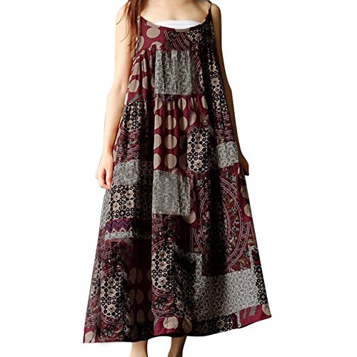 FRENDLY Women Summer Skirt Cotton Linen Strappy Loose Dress Bohe Maxi Print Long Dress Plus Size Casual T Shirt Dress Red