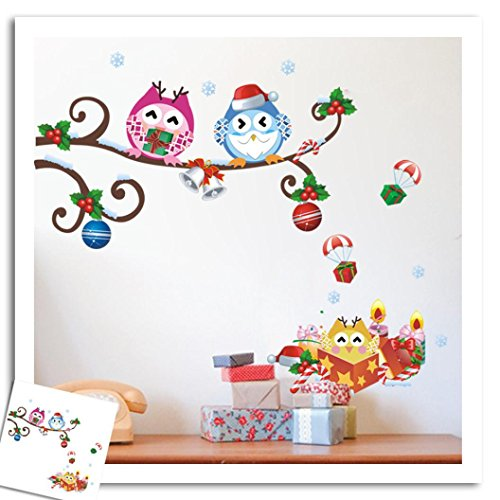 Merry Christmas Wall Stickers Decoration Removable Art Decal Cartoon Owls Window Wall Stickers