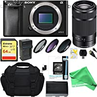Sony Alpha a6000 24.3MP Mirrorless Digital Camera with 55-210mm Zoom Lens + DigitalAndMore Ultimate Accessory Bundle