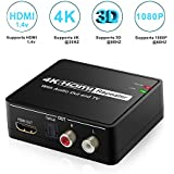 HDMI Audio Extractor, 4Kx2K HDMI to HDMI Optical TOSLINK SPDIF L/R Stereo Audio Converter with Power Adapter, HDMI Audio Converter Support HDMI 1.4, 1080P